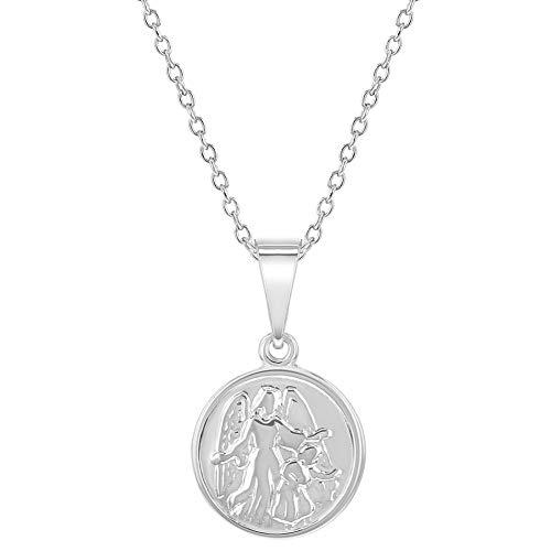 - 925 Sterling Silver Guardian Angel Little Medal Pendant Necklace Children 16