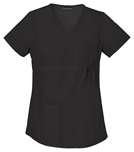 Cherokee Women's Maternity Mock Wrap Knit Panel Top_Black_X-Large,2892 by Cherokee