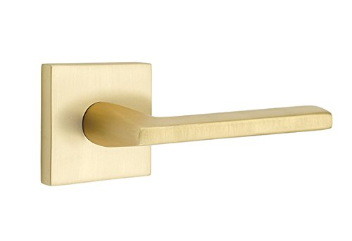 Passage Set, Square Rosette, Helios Lever, Right Hand, Satin Brass ()