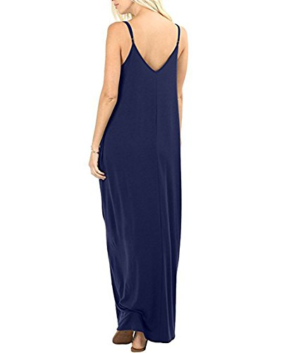 Di Marina Gonna Lunga Spalline Vestito Dress Abito Casual Estivi Con Tasche Maxi V Scollo Donna Spiaggia Sottili Vacanze Militare A nUOq7w