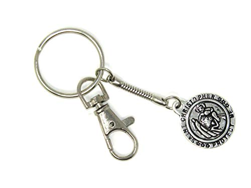 E1-0608 - St Christopher Design Key Ring/Keyring. Silver Coloured - Protection and Good Luck for Travel (1) ()