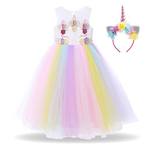 Girls Rainbow Unicorn Dress up Costume Sequin Flower Colorful Ruffle Tulle Skirt + Horn Headband Kids Birthday Outfit 2Pcs Set for Halloween Party Fancy Dress up Photo Shoot Cosplay White 5-6 Years