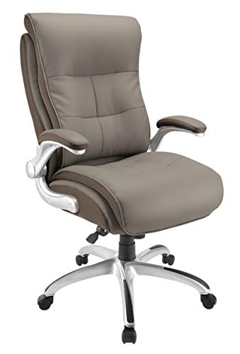 Realspace Ampresso Big & Tall Bonded Leather High-Back Chair, Taupe/Silver