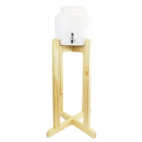 Ceramic White Classic Water Dispenser and Natural Wood Floor Stand