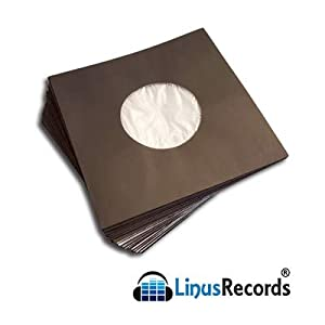 [LinusRecords] [300 pieces] [Paper Bags with Anti-static lining for 45 RPM Vinyl 7 Inch Records] [Black Color]…