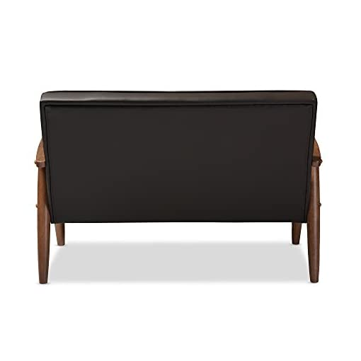 Farmhouse Living Room Furniture Baxton Studio BBT8013-Brown Loveseat Love Seats, Brown farmhouse sofas and couches