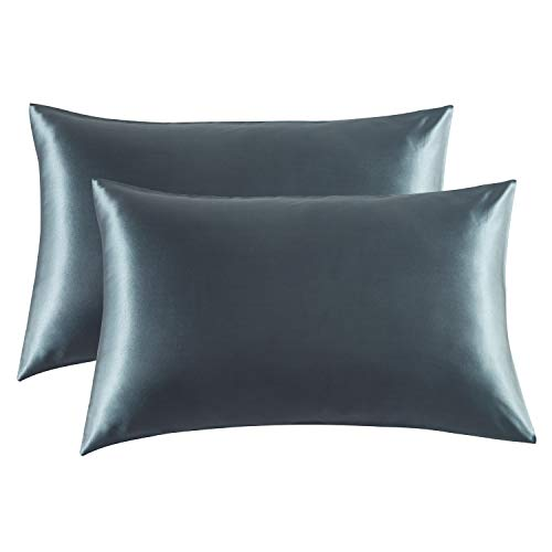 Bedsure Satin Pillowcase for Hair and Skin, 2-Pack - Queen Size (20x30 inches) Pillow Cases - Satin Pillow Covers with Envelope Closure, Space Gray