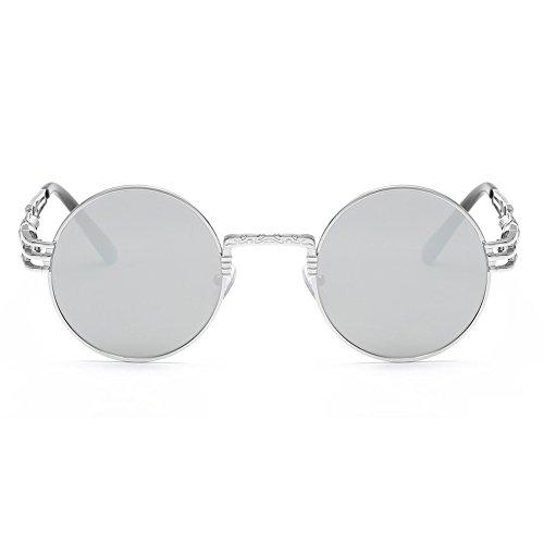 de Yiwa White Lunettes Silver Homme soleil Frame Lens FqAwqHg