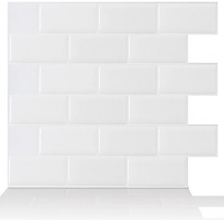 Premium Anti Mold Peel and Stick 3D Wall Tile in Subway White (10, White) by Tic Tac Tiles