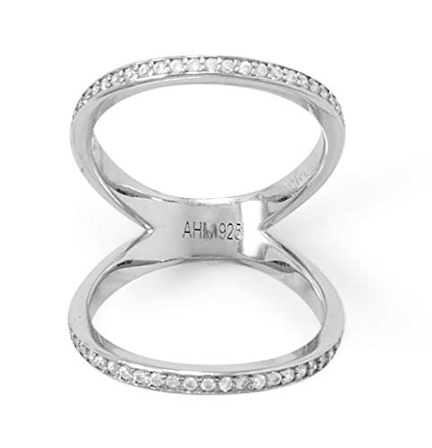 Rhodium Plated Sterling Silver Double 2mm Bands Knuckle Ring, Channel Set 1mm Cubic Zirconia CZs, Size 10, Base of Ring Measures 4.6mm