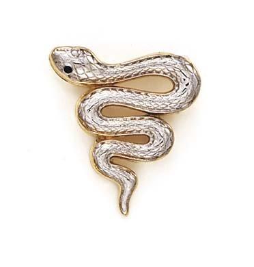 14 carats-Bicolore-JewelryWeb rhodié et pendentif serpent