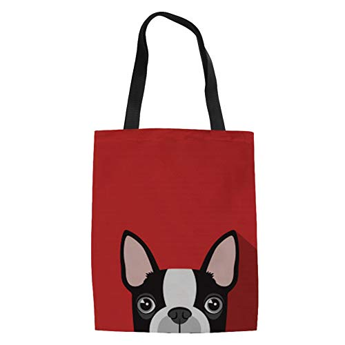 es Bags Boston Terrier Puppy Print Shoulder Bag Reusable Grocery Bags for Beach Travel Shopping ()