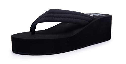 Kool Classic Women's Summer Platform Flip Flops Thong Wedge Beach Sandals Shoes Black 40 M EU=9.5 B(M) US (Thong Rubber Classic)