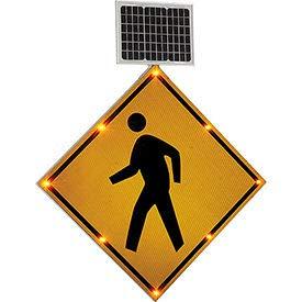 Solar Powered Flashing LED Pedestrian Crossing Sign, Diamond