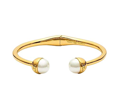 - Tory Burch Womens Gold Plated Brass Pearl Ivory Hinge Cuff Bracelet