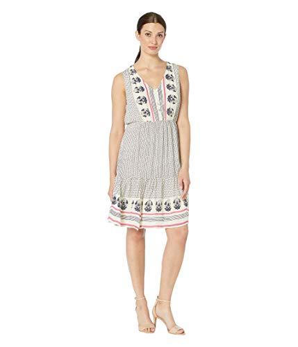 Lucky Brand Women's Luna Border Print Dress, Natural Multi, L