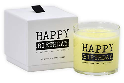 Lulu Candles | Buttercream Vanilla Cupcake | Happy Birthday | Luxury Scented Soy Jar Candles | Hand Poured in The USA | Highly Scented & Long Lasting | Small- 6 Oz. with Gift Box
