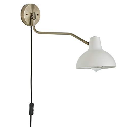 Rivet Industrial Swiveling Arm Plug-In, Hardwire. or 2-in-1 Option Wall Sconce Light with Bulb, 11.4