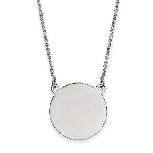 Solid 14k White Gold Plain .027 Gauge Circular Engravable Disc 18 Necklace Chain 18