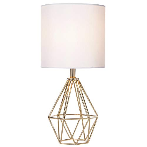 COTULIN Gold Modern Hollow Out Base Living Room Bedroom Small Table Lamp,Bedside Lamp with Metal Base and White Fabric - Table Small Bedroom For Lamps