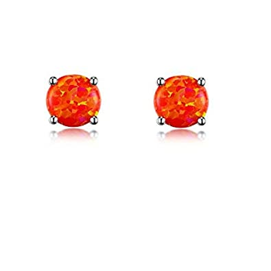4370705e9 GEMSME 18K White Gold Plated Created Orange Fire Opal Stud Earrings Round  6MM