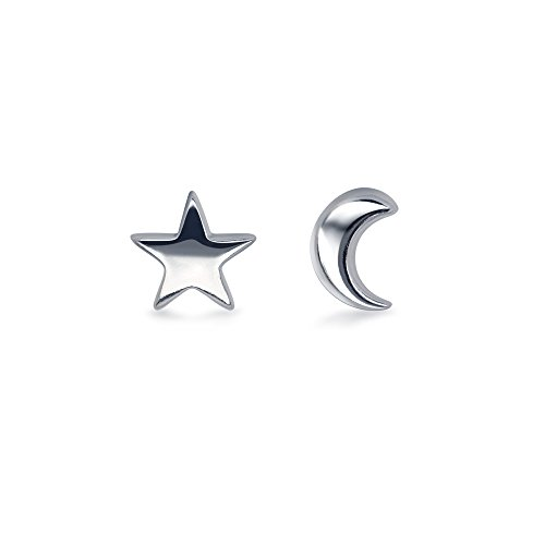 HANFLY Tiny Moon and Star 925 Sterling Silver Stud Earring Star Earring (5mm)