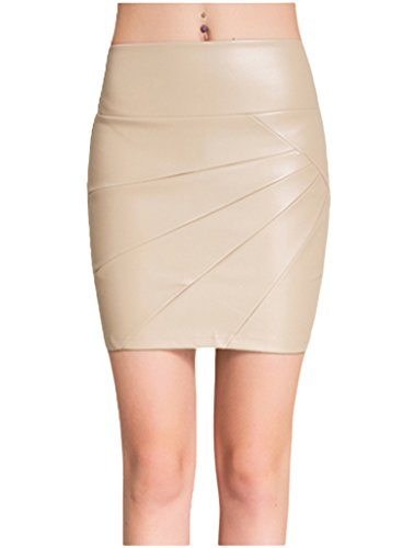 Lotsyle Faux Leather Min Skirts Women Pleated Pencil Skirts Leather Shorts Nude-M (Skirt Pleated Leather Pencil)
