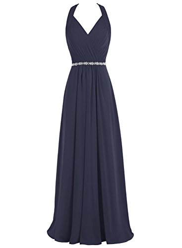 Chiffon Beaded Long Halter Dress - 8