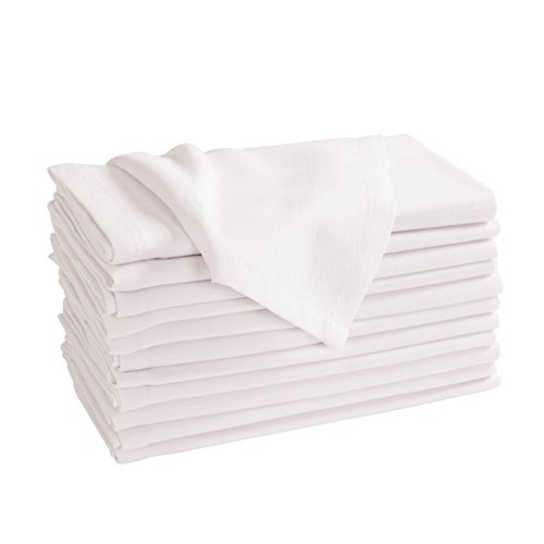 KAF Home Easy Care Oversized Cloth Canal Napkins -Set of 12, 20x20- inches, 100 Percent Cotton, White