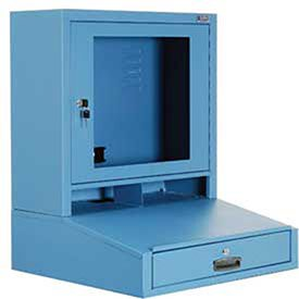 LCD Counter Top Security Computer Cabinet, Blue, 24-1/2