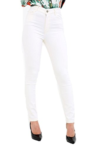 Ex MANGO Ladies Slim Fit Jeggings Coloured Stretch Plain Skinny Denim Jeans Off White