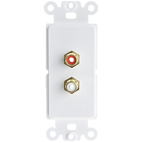 CableWholesale Decora Wall Plate Insert White RCA Stereo Couplers 2 RCA Female, Red/White (301-2002)