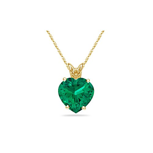 1.00-1.10 Cts of 7 mm AAA Heart Lab Created Emerald Scroll Solitaire Pendant in 14K Yellow Gold