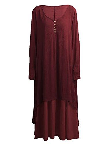 Romacci Women Boho Dress Casual Irregular Maxi Dresses Layered Vintage Loose Long Sleeve Linen Dress,S-5XL by Romacci (Image #1)