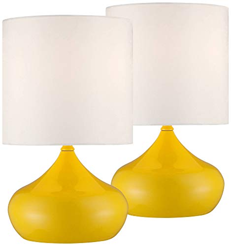 "Mid Century Modern Accent Lamps 14 3/4"" High Set of 2 Canary Yellow Droplet White Drum Shade for Kids Room Bedroom - 360 Lighting"