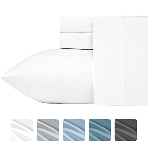 700-Thread-Count Cotton Blend Sheet Pure White Queen Sheets Set, 4-Piece Best Bedding Sheets For Bed on Amazon, Breathable, Silky Sateen Weave, Poly Cotton, Fits Mattress Upto 18'' Deep Pocket 18' Solid Poly Cotton