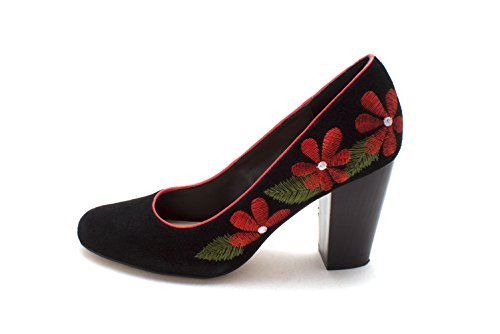Ciao Bella Womens Yasmin Leather Closed Toe Classic Pumps Black/Mandarin Red 6Jp2de