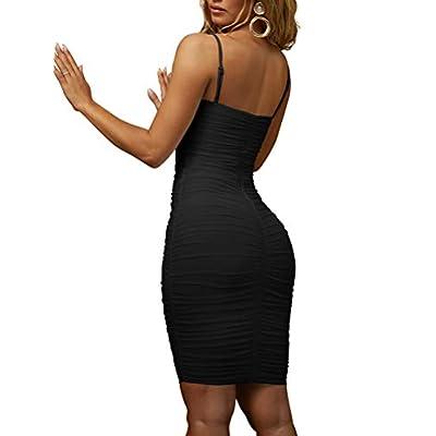 BEAGIMEG Women's Sexy Spaghetti Strap Bodycon Ruched Club Mini Party Dress: Clothing
