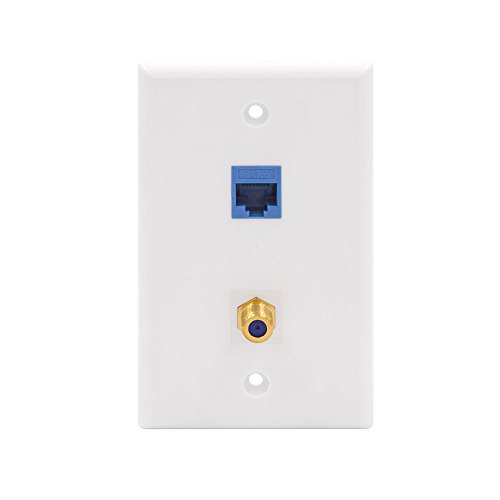 VCE 2 Port Cat6 Keystone Jack Coupler and Gold-Plated RG6 Keystone Jack Insert Wall Plate (Plate Wall Coupler)