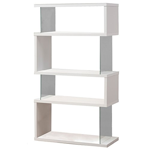 - Asymmetrical Snaking Bookcase White Glossy and Clear