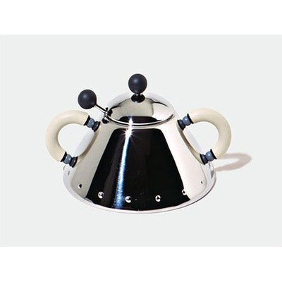9097 Sugar Bowl with Spoon by Michael Graves,1988 Colors: Mirror Polished with White Handle