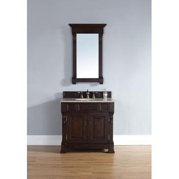 James Martin 147-114-5561-CAR Brookfield 36'' Burnished Mahogany Single Vanity with Carrera White Stone Top by James Martin