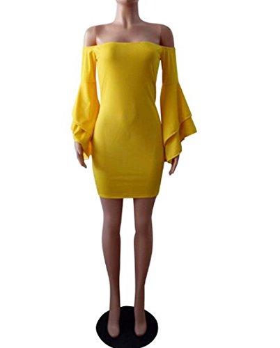 HEFEI de tamaño de L de V Color Mujeres Vestido Mangas la Atractivas del Fiesta Coctel Trabajo Las Las la Envoltura XIAOXIAO de de Amarillo del Cuello zzqwrUS