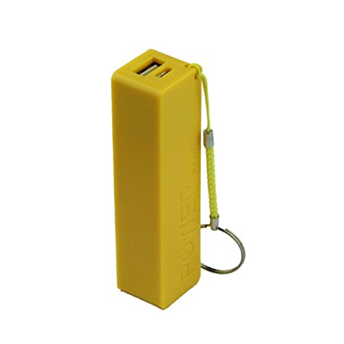 Perman Portable Power Bank 18650 Battery External Backup Battery Charger With Key Chain (Yellow)
