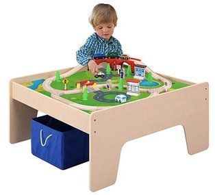 Wooden Activity Table with 45-piece Train Set u0026 Storage Bin by Union by Union  sc 1 st  Amazon.com : toddler train set table - pezcame.com