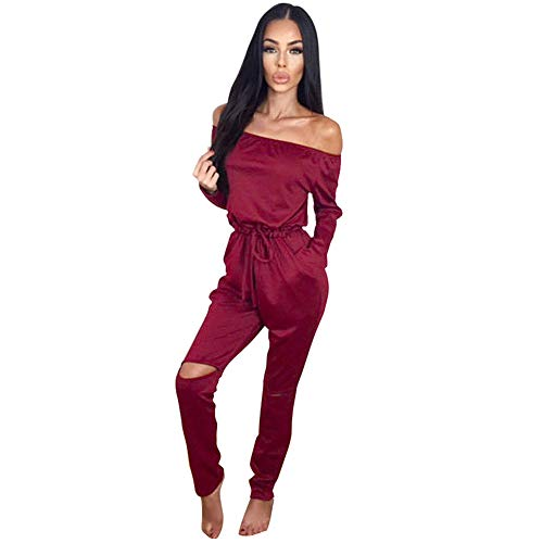 Longwu Women's Fashion Off-Shoulder Drawstring Jumpsuits Rompers Knee Hole Pants Jujube red-M