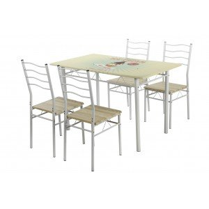 KB8 Mesa de Cocina Vintage y 4 sillas: Amazon.es: Hogar
