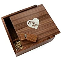 Walnut Wooden 2.0 USB Flash Drive - Inserted into a Walnut Photo Box with Mr & Mrs Heart Mother of Pearl. Holds 4x6 Photographs (16GB)