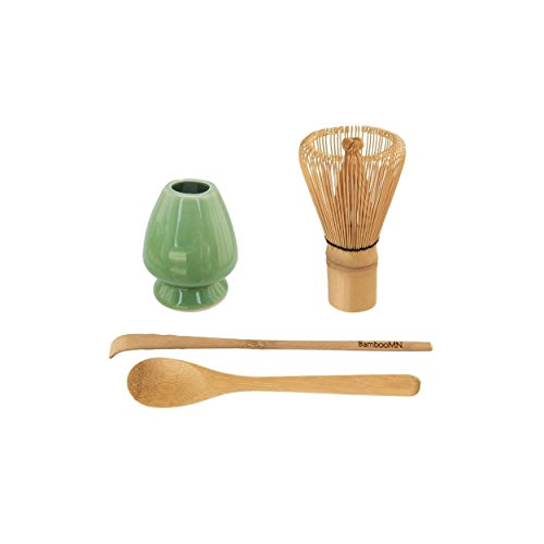 BambooMN Brand - Matcha Green Tea Whisk Set - Whisk + Scoop + Tea Spoon + Soft Light Green Whisk Holder by BambooMN
