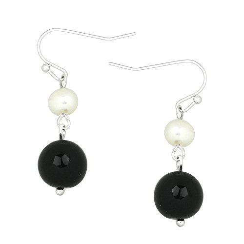 Falari 10mm Round Natural Stone Earring Mother of Pearl High Polished Rhodium Black Onyx - Aventurine Pearl Earrings
